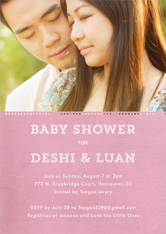 baby shower invitations - pale pink - film edge (set of 10)