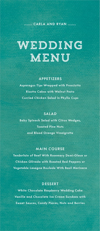 custom menus - turquoise - film edge (set of 10)