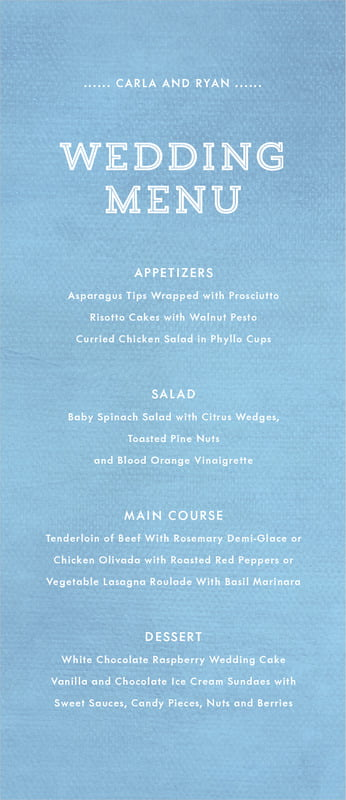 custom menus - blue - film edge (set of 10)