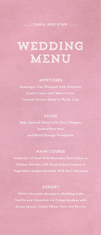 custom menus - pale pink - film edge (set of 10)