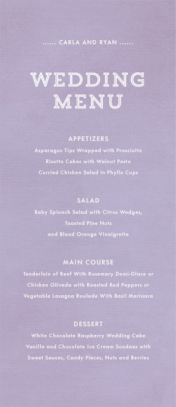 custom menus - lilac - film edge (set of 10)