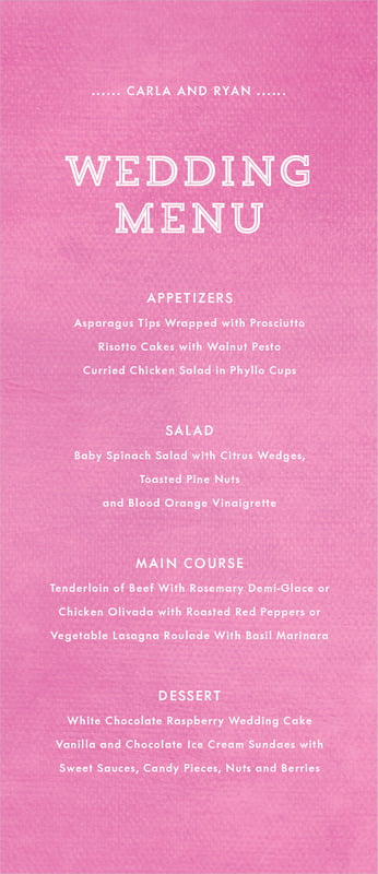 custom menus - bright pink - film edge (set of 10)