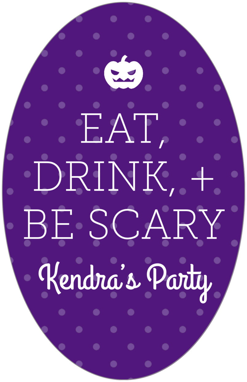 large oval food/craft labels - purple - iconic halloween (set of 8)