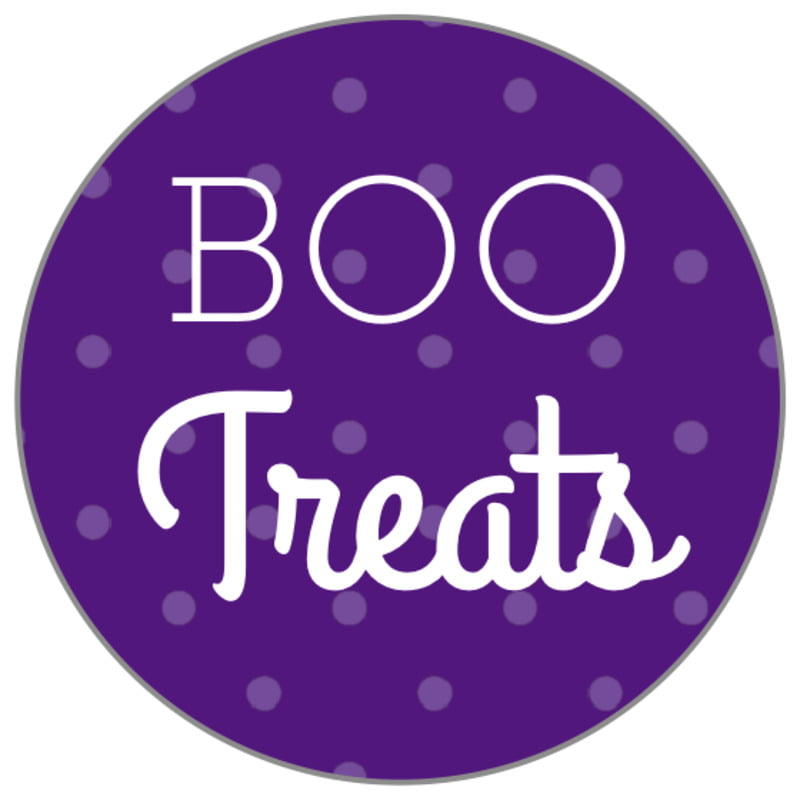 small circle food/craft labels - purple - iconic halloween (set of 70)
