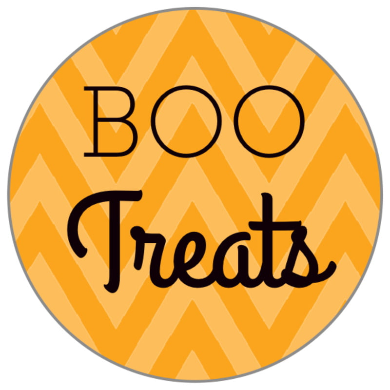 small circle food/craft labels - orange - iconic halloween (set of 70)