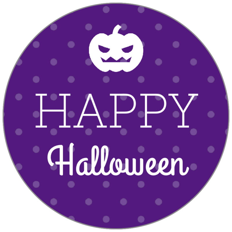 circle food/craft labels - purple - iconic halloween (set of 35)