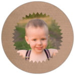Chevron Edge Circle Photo Label In Mocha