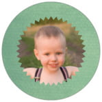 Chevron Edge Circle Photo Label In Mint