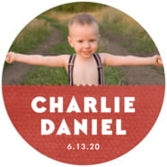 Chevron Edge Large Circle Label In Deep Red