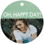 Chevron Edge Circle Hang Tag In Mint