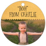 Chevron Edge Circle Hang Tag In Sunflower