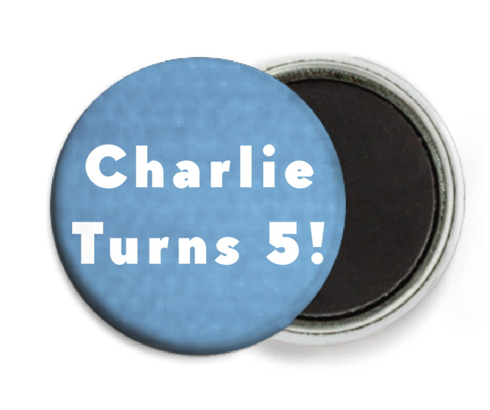 custom button magnets - blue - chevron edge (set of 6)