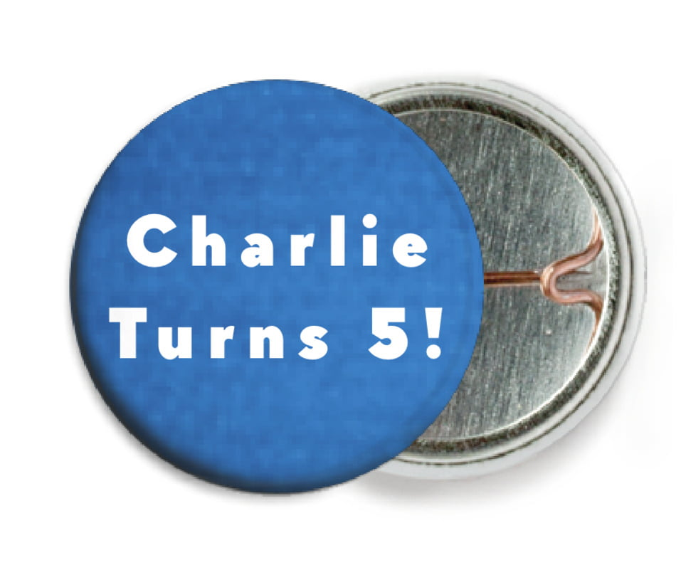 custom pin back buttons - cobalt - chevron edge (set of 6)