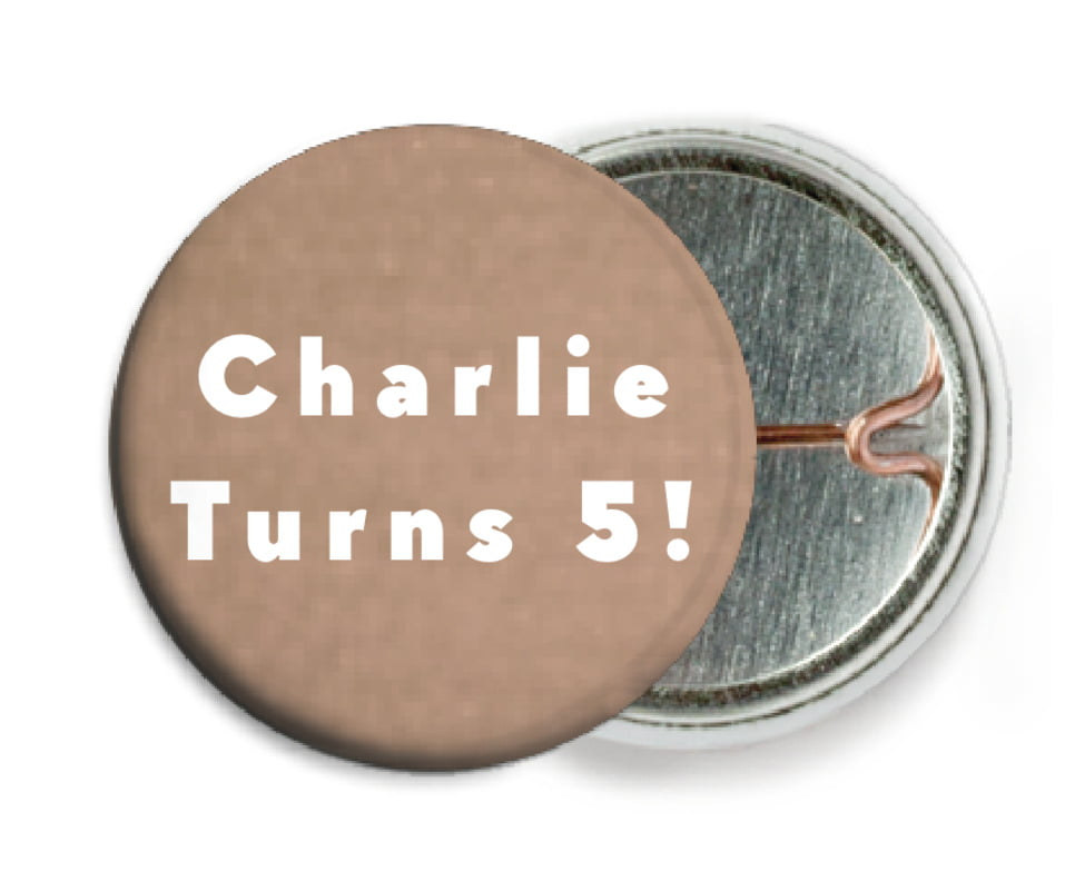 custom pin back buttons - mocha - chevron edge (set of 6)