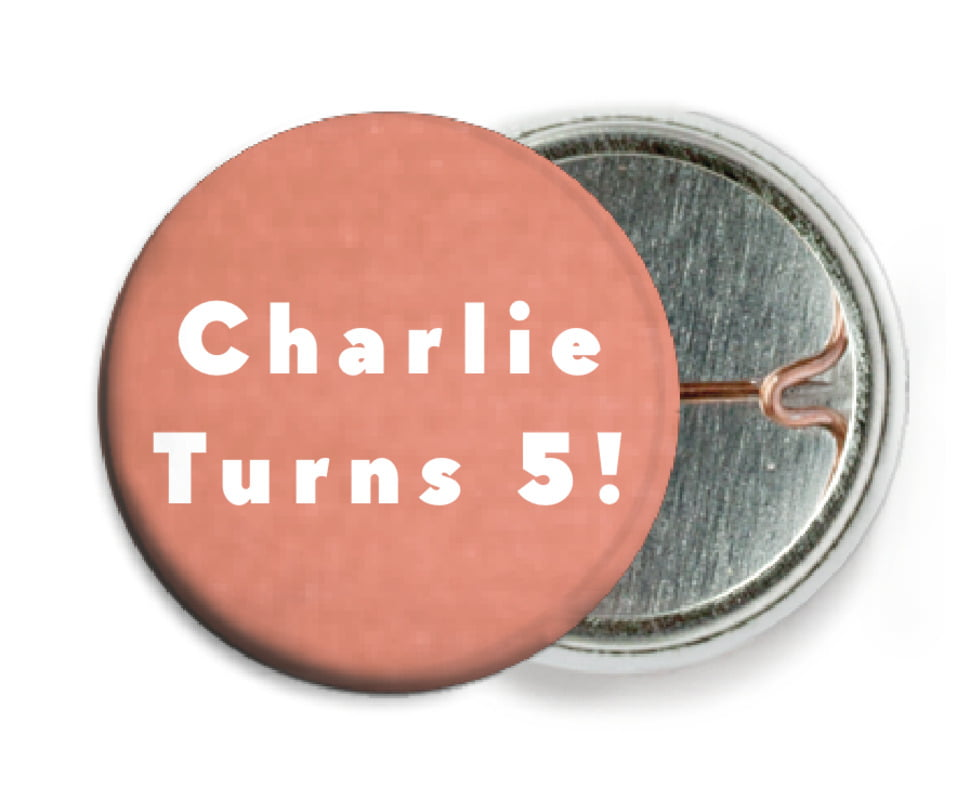 custom pin back buttons - peach - chevron edge (set of 6)
