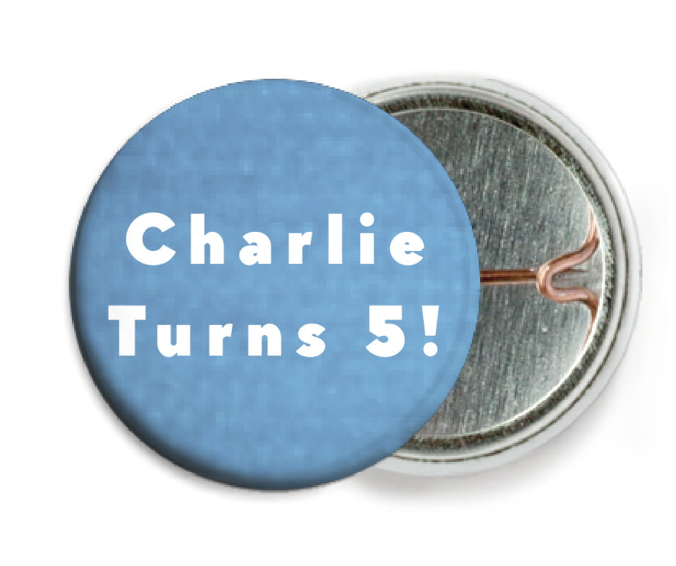 custom pin back buttons - blue - chevron edge (set of 6)