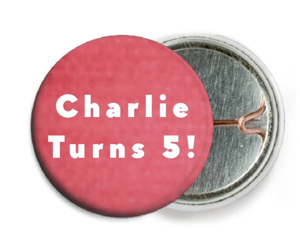 custom pin back buttons - deep coral - chevron edge (set of 6)