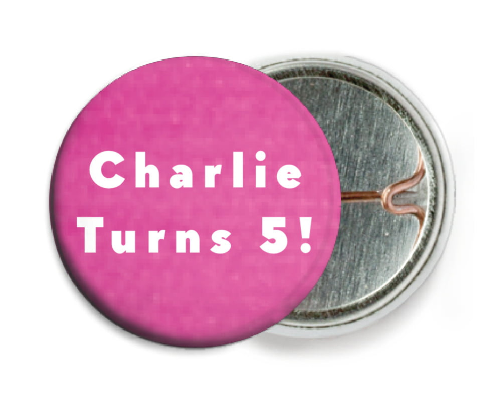 custom pin back buttons - bright pink - chevron edge (set of 6)