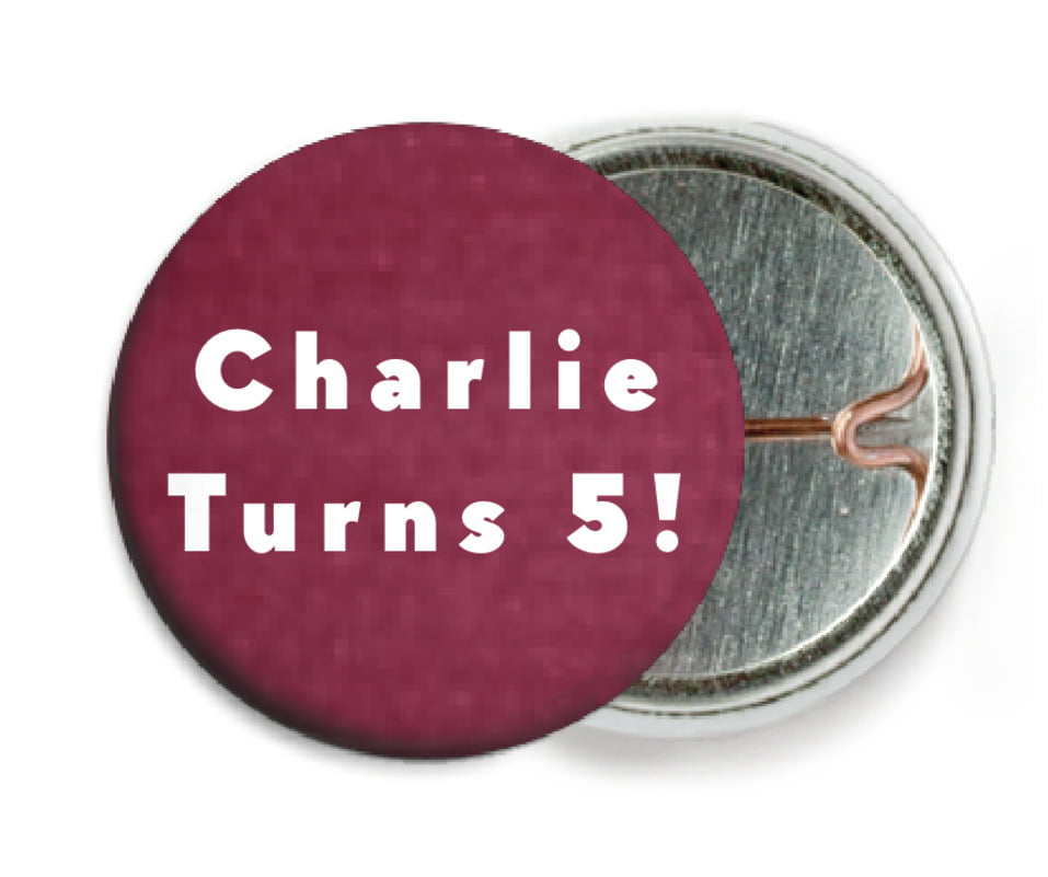 custom pin back buttons - burgundy - chevron edge (set of 6)