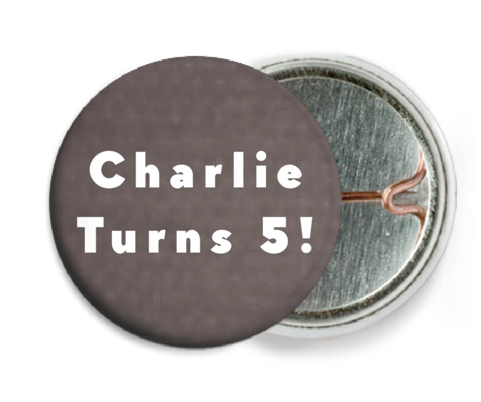 custom pin back buttons - saddle brown - chevron edge (set of 6)