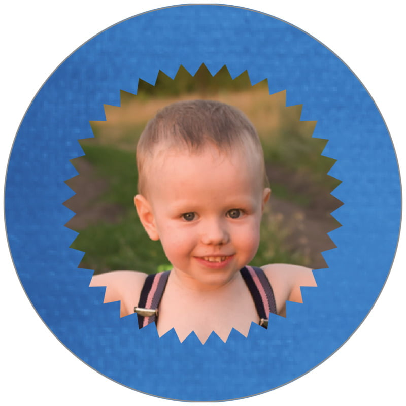 circle photo labels - cobalt - chevron edge (set of 20)