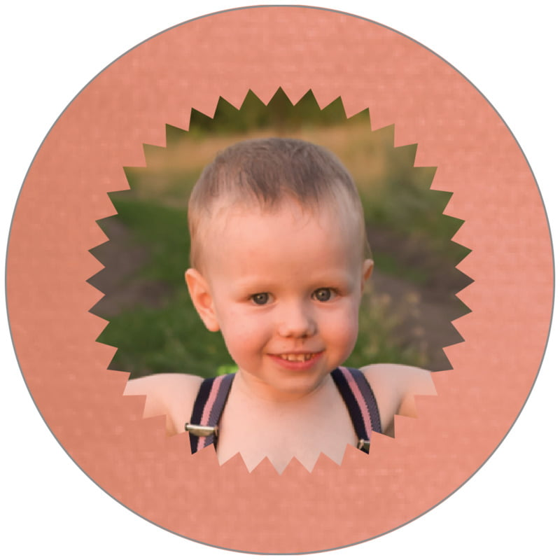 circle photo labels - peach - chevron edge (set of 20)