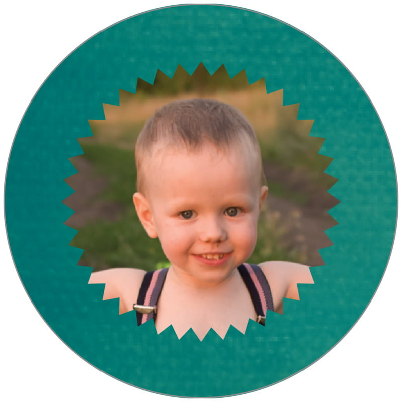 circle photo labels - turquoise - chevron edge (set of 20)