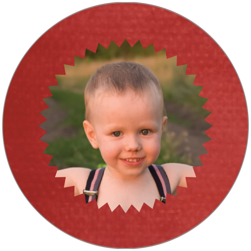 circle photo labels - deep red - chevron edge (set of 20)