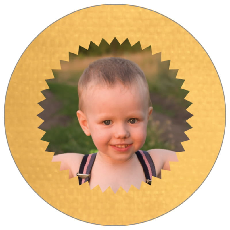 circle photo labels - sunflower - chevron edge (set of 20)
