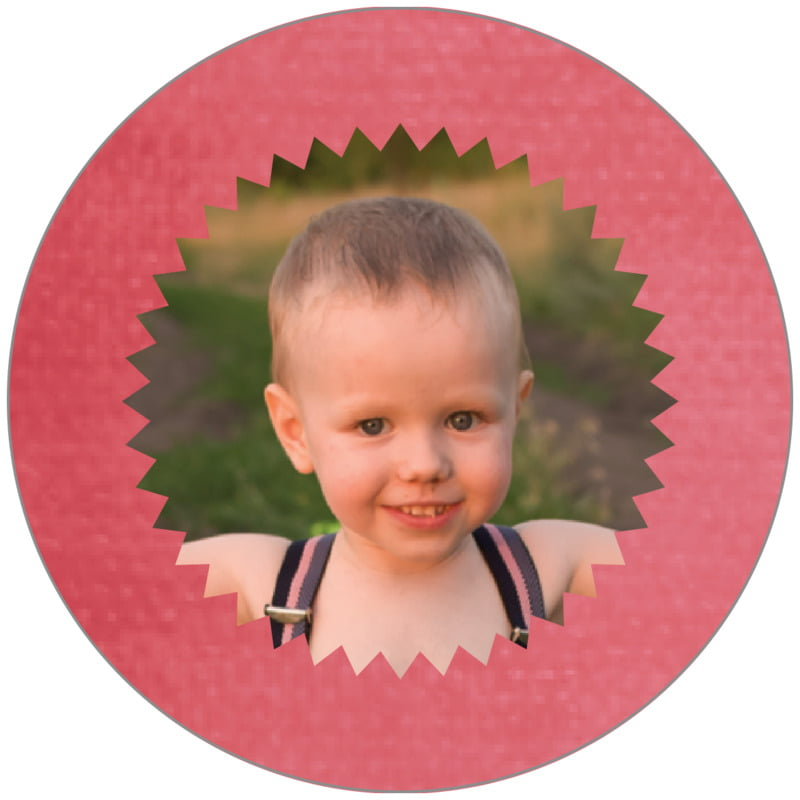 circle photo labels - deep coral - chevron edge (set of 20)