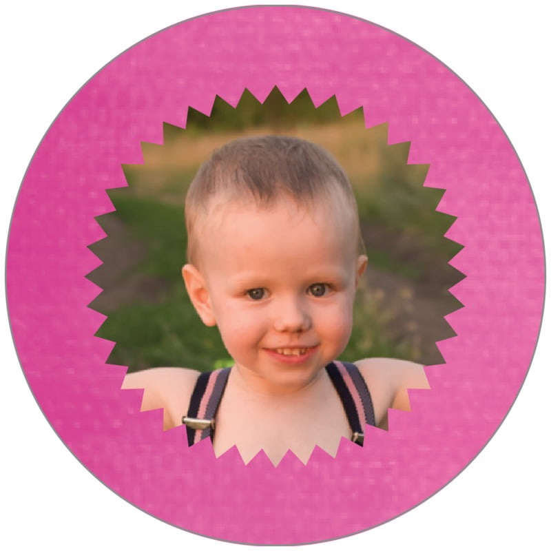 circle photo labels - bright pink - chevron edge (set of 20)