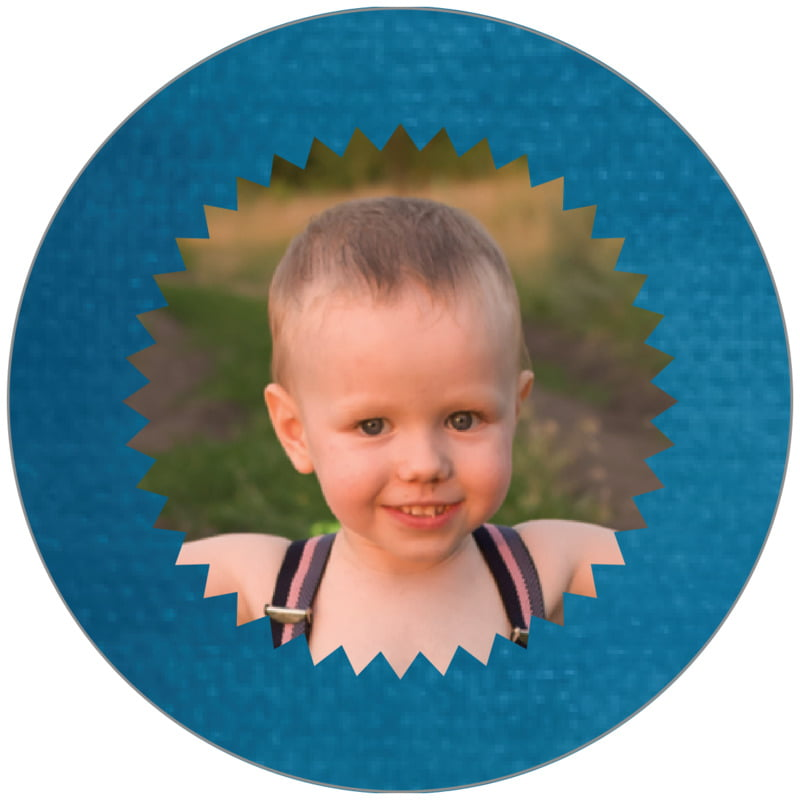 circle photo labels - bahama blue - chevron edge (set of 20)