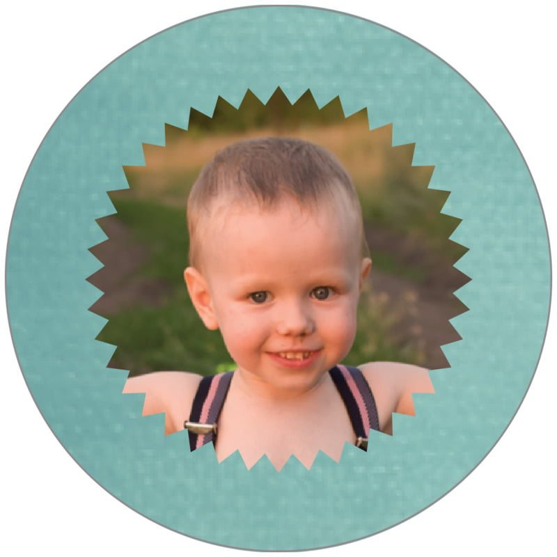 circle photo labels - aruba - chevron edge (set of 20)