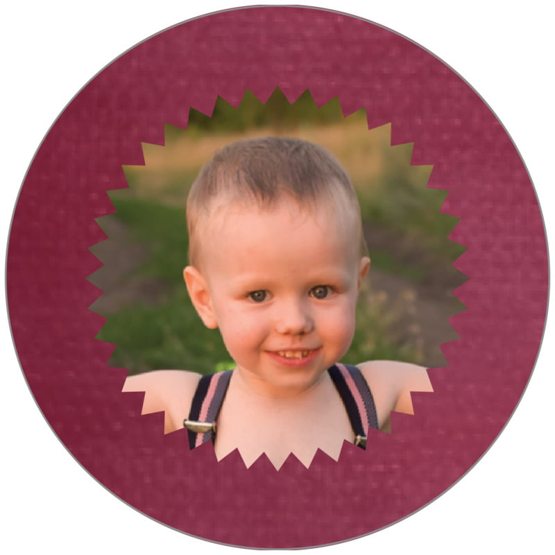 circle photo labels - burgundy - chevron edge (set of 20)