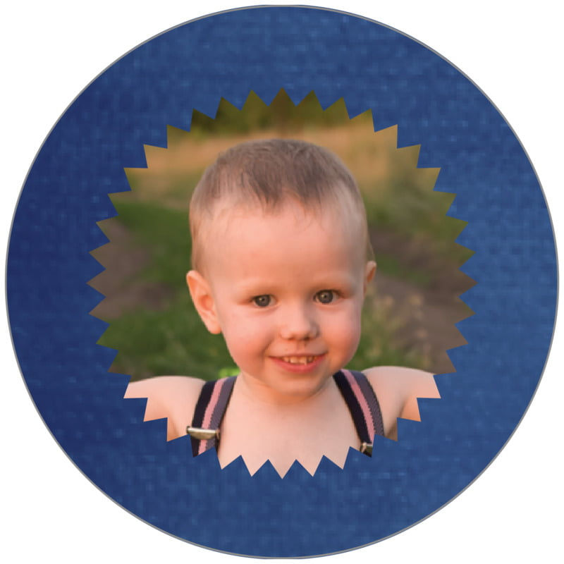 circle photo labels - deep blue - chevron edge (set of 20)