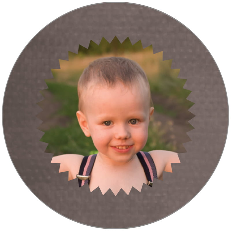 circle photo labels - saddle brown - chevron edge (set of 20)