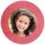 Scallop Edge Circle Photo Label In Deep Coral
