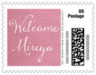 Scallop Edge Small Postage Stamp In Pale Pink