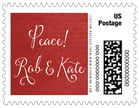 Scallop Edge Small Postage Stamp In Deep Red