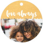 Scallop Edge Circle Hang Tag In Sunburst