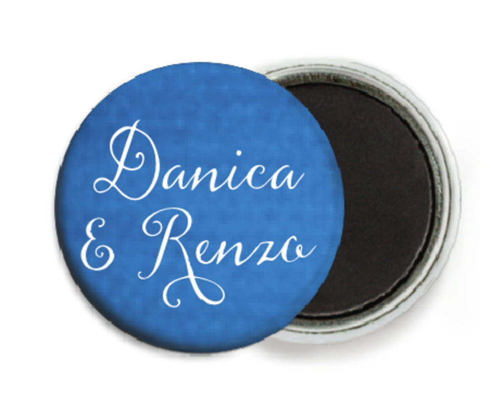 custom button magnets - cobalt - scallop edge (set of 6)