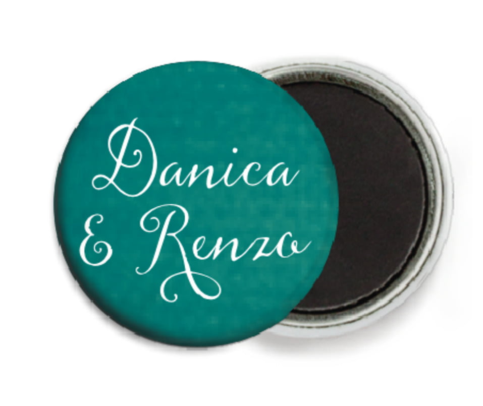 custom button magnets - turquoise - scallop edge (set of 6)