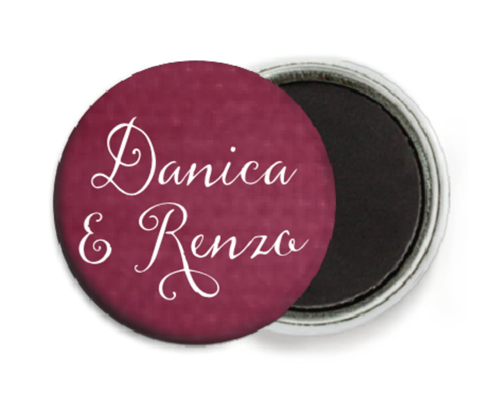 custom button magnets - burgundy - scallop edge (set of 6)