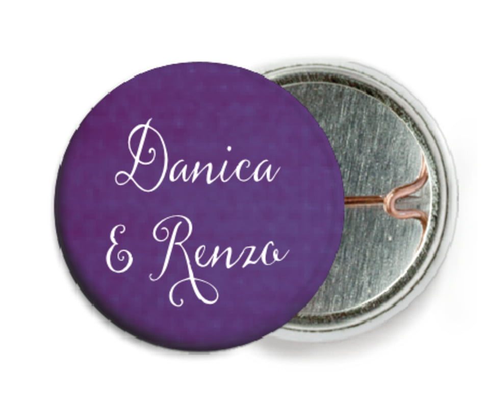 custom pin back buttons - plum - scallop edge (set of 6)