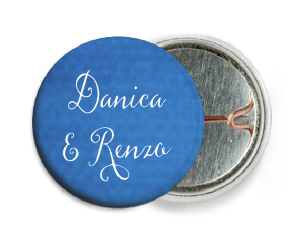 custom pin back buttons - cobalt - scallop edge (set of 6)