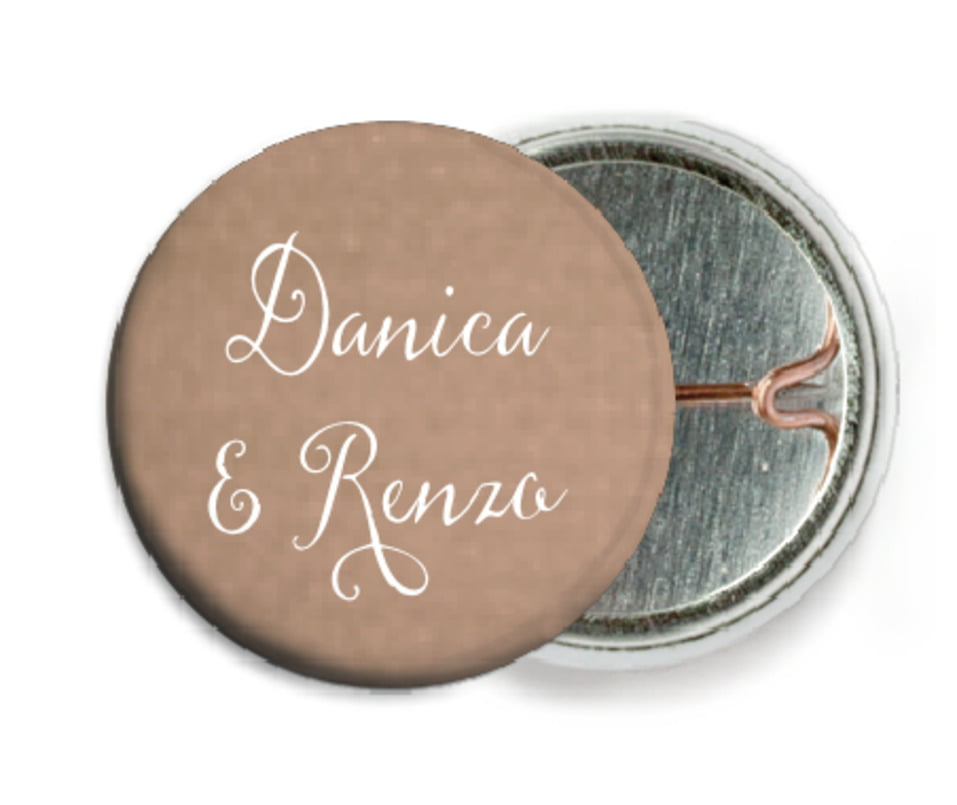 custom pin back buttons - mocha - scallop edge (set of 6)