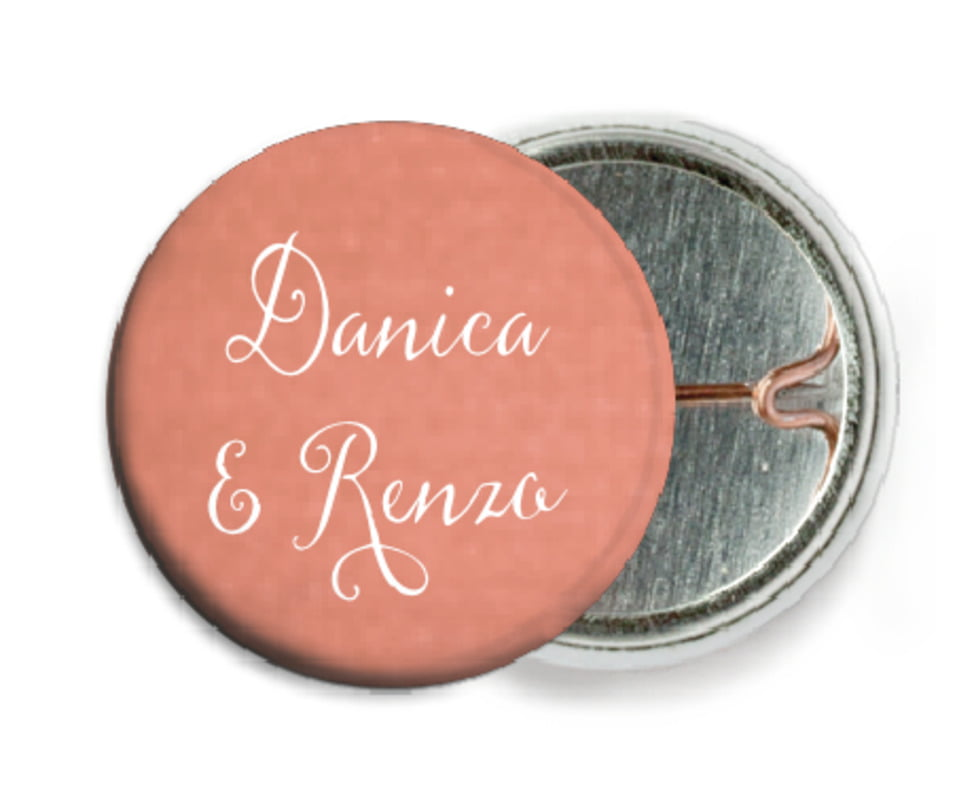 custom pin back buttons - peach - scallop edge (set of 6)