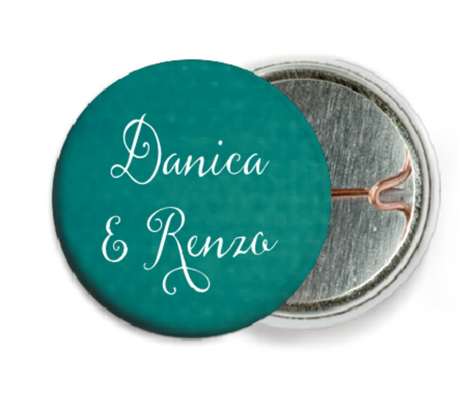 custom pin back buttons - turquoise - scallop edge (set of 6)
