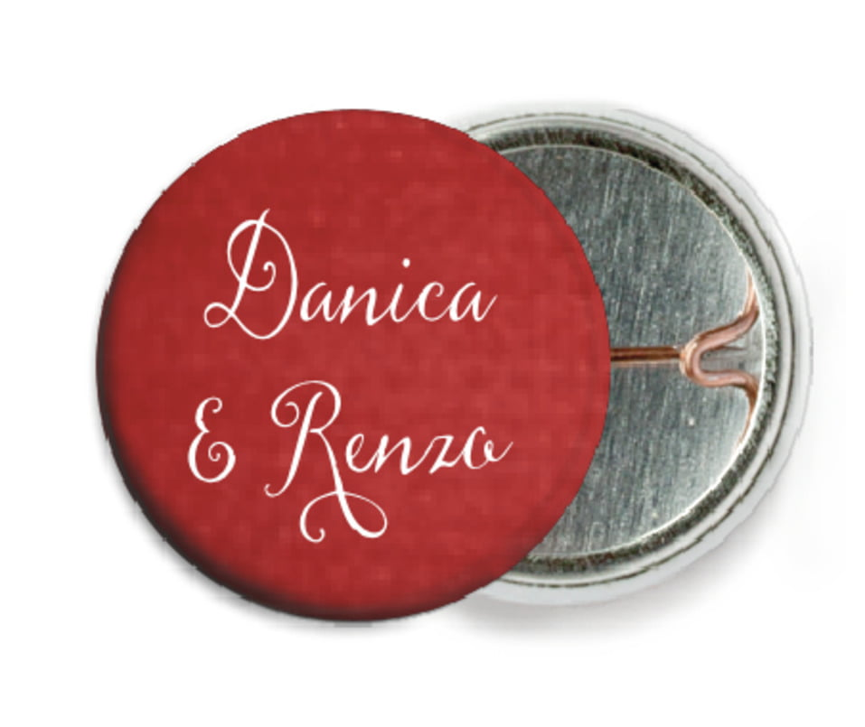 custom pin back buttons - deep red - scallop edge (set of 6)