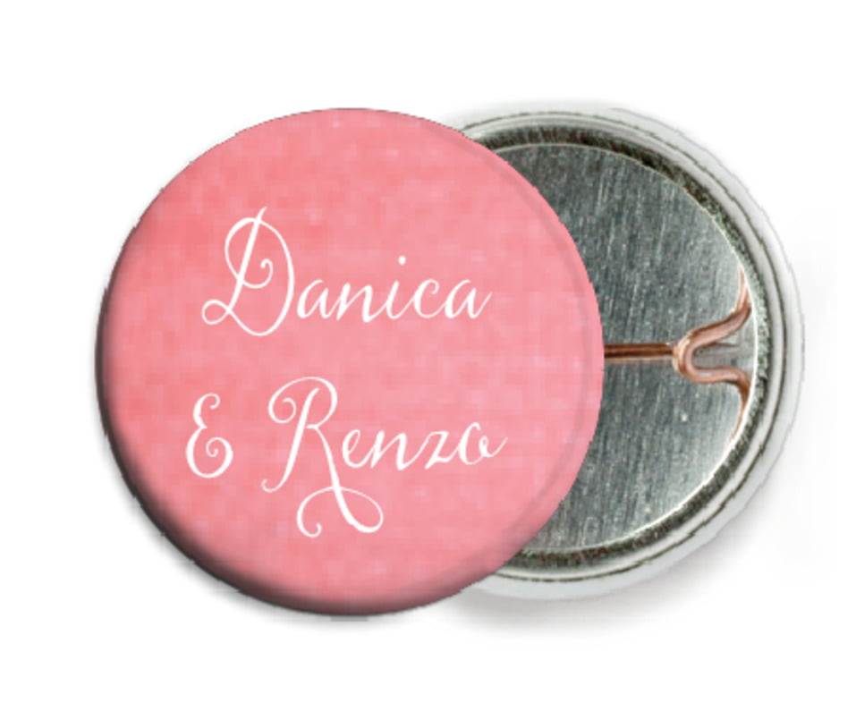 custom pin back buttons - grapefruit - scallop edge (set of 6)